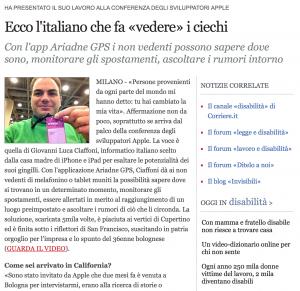 Pagina del Corriere on line che parla dell'app Ariadne GPS
