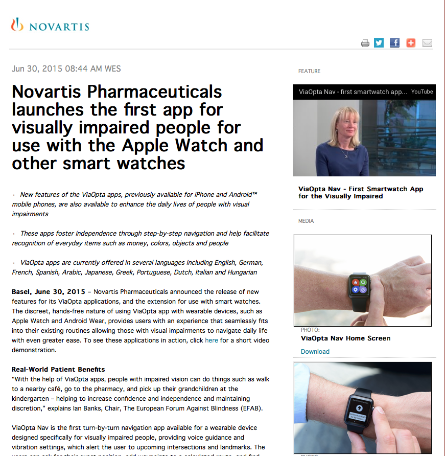 Novartis press release page